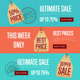 Ultimate sale discount banner set Royalty Free Stock Photos