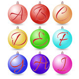 Ultimate set of alphabet font symbols on Christmas balls. Stock Images