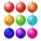 Ultimate set of alphabet font symbols on Christmas balls. Stock Photography