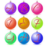 Ultimate set of alphabet font symbols on Christmas balls. Stock Image