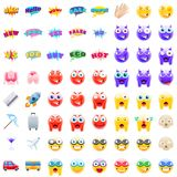 Ultimate Set of Modern Emojis. Emoticons Realistic Vector Illustration Symbols. Variety of Emotions for sales, expressions, and traveling Stock Photo