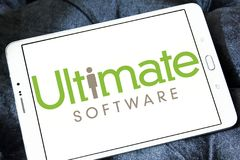 Ultimate Software company logo. Logo of Ultimate Software company on samsung tablet . Ultimate Software is an American technology company that develops and sells royalty free stock images