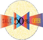 Ultime immagini di modello complete dell'icona di vendita 50% e del bottone del collour di forma rotonda di offerta illustrazione di stock