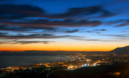 Ultime luci del giorno circa Marbella, laga del ¡ di MÃ Immagine Stock