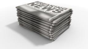 Ultime notizie della pila di giornale Fotografie Stock Libere da Diritti