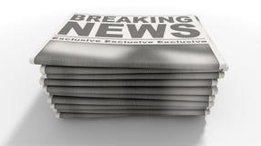 Ultime notizie della pila di giornale Fotografie Stock