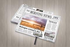 Ultime notizie di crisi del rifugiato di UE in giornale su una tavola Immagini Stock