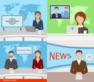 Ultime notizie TV, altoparlanti, reporter, presentatori, anchorman, commentatori royalty illustrazione gratis