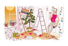 Ultime preparazioni prima della nascita di un bambino Una donna incinta con una pancia enorme fa le riparazioni e ri-incolla la c royalty illustrazione gratis
