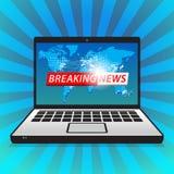 Ultimo annuncio dello schermo di computer di ultime notizie illustrazione vettoriale