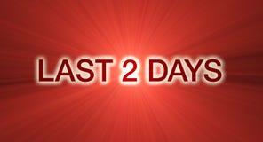 Ultimo bandiera di vendita di 2 giorni nel colore rosso Immagini Stock