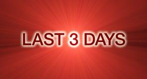 Ultimo bandiera di vendita di 3 giorni nel colore rosso Immagine Stock