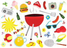 Ultimo insieme di picnic del barbecue Fotografia Stock