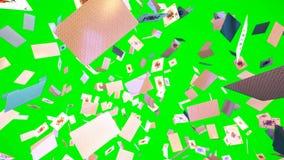 Ultra animación de HD Loopable de los naipes del vuelo en la pantalla verde almacen de metraje de vídeo