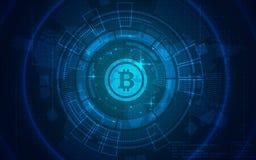 Ultra carta da parati dell'illustrazione del fondo di tecnologia di HD Bitcoin Immagini Stock Libere da Diritti