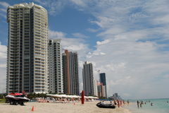 Ultra chic condominiums,hotels and vacationers on Miami Beach,florida,Summertime,2013 Stock Photography