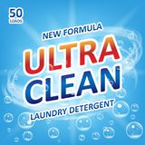 Ultra clean Soap design product. Template for laundry detergent with bubbles on blue. Package design for Liquid. Detergents or Washing Powder. Vector royalty free illustration