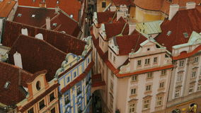 Ultra Close-up Aerial Shot of the Old Town Square and Skyline in Prague, Czech Republic (Czechia). PRAGUE, CZECH REPUBLIC (CZECHIA), 12 MAR 2016 - Aerial ultra stock footage