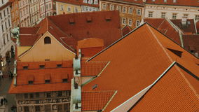 Ultra Close-up Shot of Prague Skyline from Old Town Square to Petrin Park. An ultra close-up rooftop of Prague skyline featuring the Old Town district and the stock footage