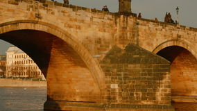 Ultra close-up view of the Charles Bridge in Prague, Czech Republic (Czechia). PRAGUE, CZECH REPUBLIC (CZECHIA), 12 MAR 2016 - Ultra close-up approach of the stock video