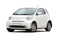 Ultra compact city car. 3/4 front view of ultra compact city car isolated on white Stock Photos