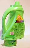 Ultra Concentrated Laundry Detergent. Ultra-concentrated phosphate free laundry detergent in a smaller bottle saves consumers money and reduces plastic in Royalty Free Stock Photography