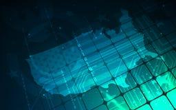 Ultra de Kaartbehang van FI de Verenigde Staten van Amerika van Sc.i van HD Abstract Royalty-vrije Stock Foto's