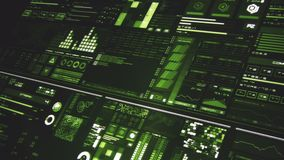 Perspective view of deep green futuristic interface/Digital screen/HUD. Ultra detailed abstract digital background. Blinking and switching indicators and vector illustration