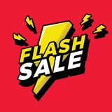Ultra Dynamic 3D Flash Sale Sign with Bright Yellow Lightening Bolt. Vector Stock Photography