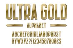 Ultra gold alphabet. Golden letters, numbers, dollar and euro currency signs, exclamation and question marks.  vector illustration