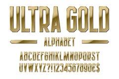 Ultra Goldalphabet Goldene Buchstaben, Zahlen, Dollar- und EuroWährungszeichen, Ausruf und Fragezeichen vektor abbildung