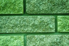Ultra green Brick texture of old vintage building, design concept.  Stock Photo