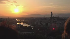 ULTRA HD 4K, Amazing Sunset view of Florence, Italy, Europe. ULTRA HD 4K, View of Amazing Sunset view of Florence, Italy, Europe stock video footage