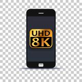Ultra HD 8K application on mobile phone pasted on photo paper. Background vector illustration