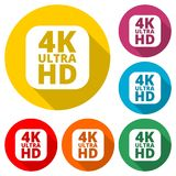 Ultra HD 4K icon, color icon with long shadow. Simple vector icons set Stock Images