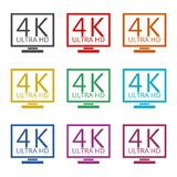 Ultra HD 4K icon, color icons set. Simple vector icon Royalty Free Stock Photo