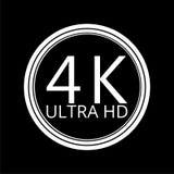 Ultra HD 4K icon on dark background. Simple vector icon stock illustration