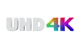 Ultra HD 4K icon. Isolated on white background. 3D render Stock Illustration