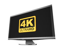 Ultra HD 4K icon. Isolated on white background. 3D render Royalty Free Illustration