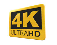 Ultra HD 4K icon. Isolated on white background. 3D render Vector Illustration