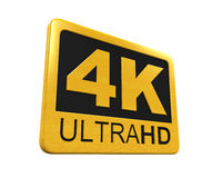 Ultra HD 4K icon. Isolated on white background. 3D render Royalty Free Stock Photography