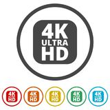 Ultra HD 4K icon set, 6 Colors Included. Simple  icons set Stock Images