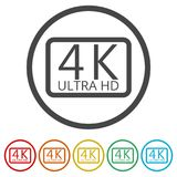 Ultra HD 4K icon set, 6 Colors Included. Simple vector icons set Royalty Free Stock Photos