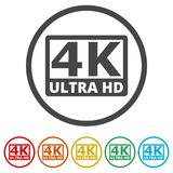 Ultra HD 4K icon set, 6 Colors Included. Simple vector icons set Stock Image