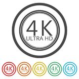 Ultra HD 4K icon set, 6 Colors Included. Simple vector icons set Stock Photo