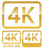 Ultra HD 4K icon Stock Photos