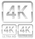 Ultra HD 4K icon. Vector silver gray metall Ultra HD 4K icons set vector illustration