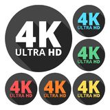 Ultra HD 4K icons set with long shadow. Vector icon royalty free illustration