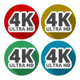 Ultra HD 4K icons set with long shadow. Vector icon vector illustration