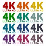 Ultra HD 4K icons set. Vector icon Stock Photo
